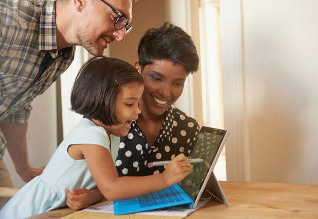 Diverse Family Childs Laptop Interactive eBooks Download Online