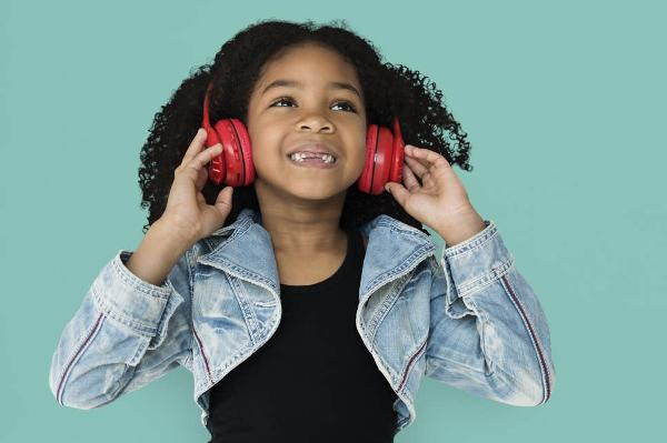 Black Girl Enjoying Kids Audiobook Red Headphones