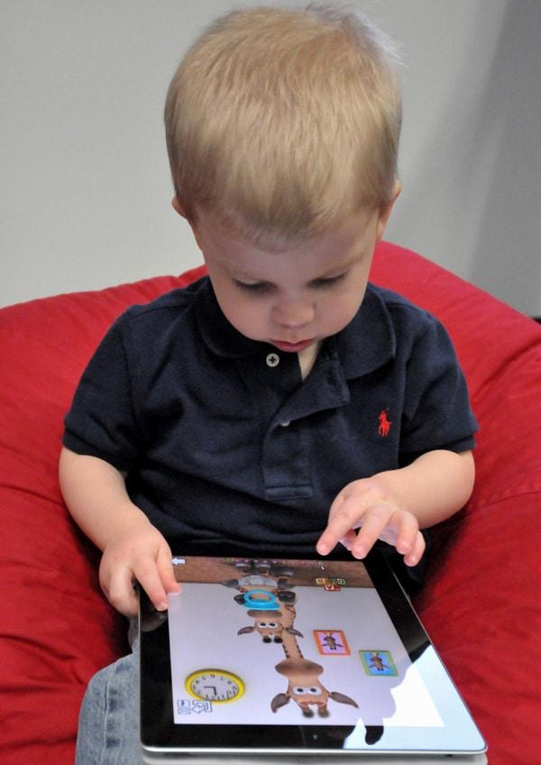 Toddler Reading Children's eBook Online with Tablet